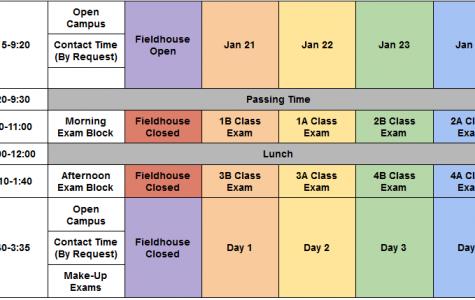 New exam schedule beginning 2020